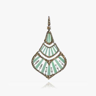 Flamenco 18ct White Gold 3.78 ct Diamond Jade Pendant