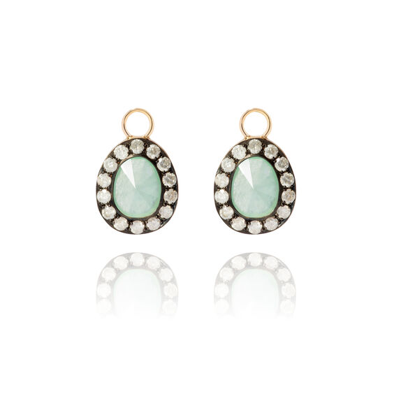 Dusty Diamonds 18ct Gold Jade Earring Drops