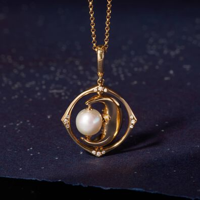 Mythology 18ct Gold Pearl Spinning Moon Mini Charm