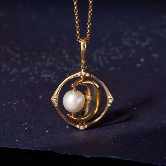 Mythology 18ct Gold Pearl Spinning Moon Mini Charm | Annoushka jewelley