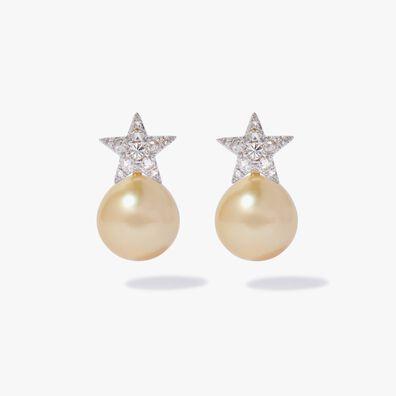 18ct White Gold Diamond South Sea Pearl Star Earrings