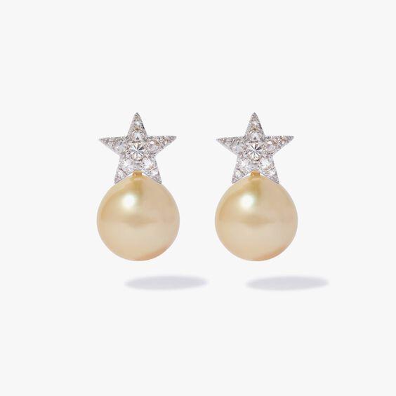 18ct White Gold Diamond South Sea Pearl Star Earrings | Annoushka jewelley