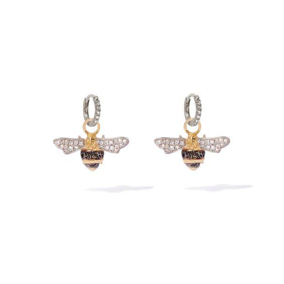 Mythology 18ct White Gold Diamond Bee Earrings | Annoushka jewelley