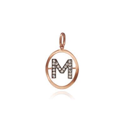 18ct Rose Gold Initial M Pendant