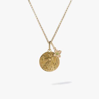 Gold Virgo & Peridot August Birthstone Necklace