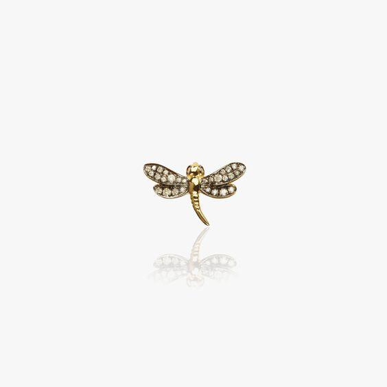 Love Diamonds 18ct Gold Diamond Dragonfly Right Single Stud | Annoushka jewelley