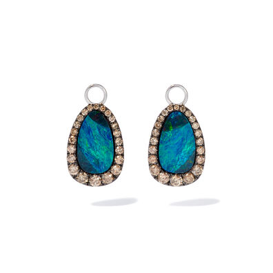 Unique 18ct White Gold Opal Brown Diamond Earring Drops