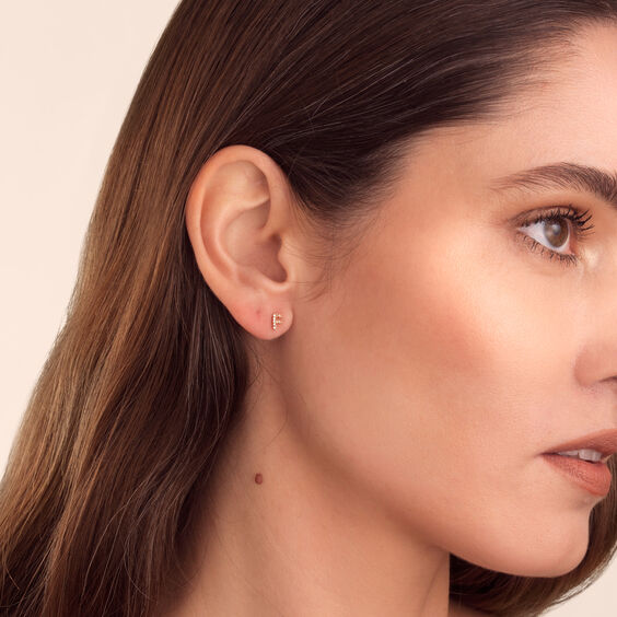 18ct Gold Diamond Initial F Single Stud Earring