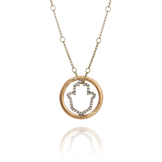 Hoopla 18ct Gold Hand of Fatima Necklace | Annoushka jewelley
