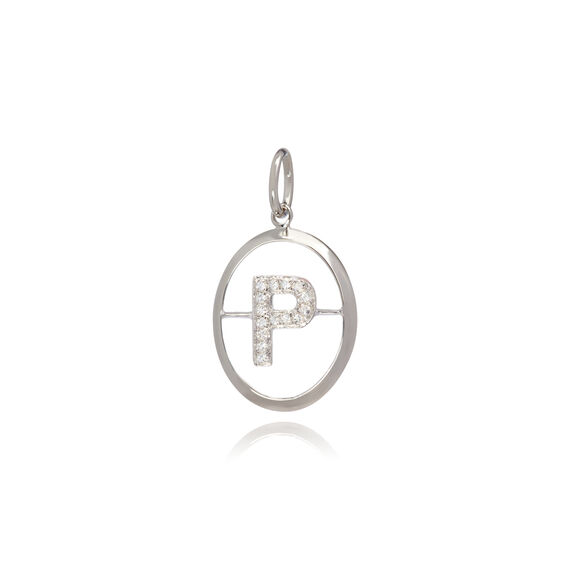 18ct White Gold Initial P Pendant