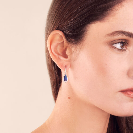Unique 18ct White Gold Opal Diamond Earring Drops | Annoushka jewelley