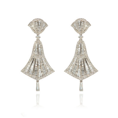 Flamenco 18ct White Gold 4.12 ct Diamond Small Earrings