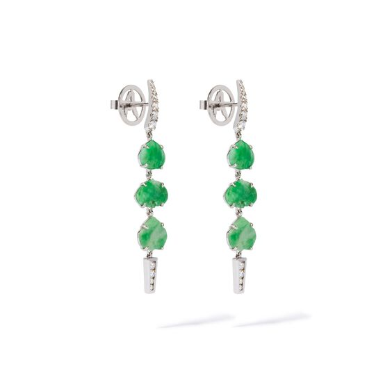 Unique 18ct White Gold Jade Diamond Drop Earrings | Annoushka jewelley