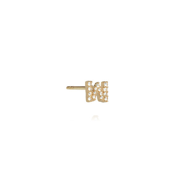 18ct Gold Diamond Initial W Single Stud Earring