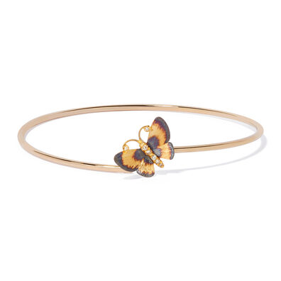 18ct Gold Diamond Butterfly Bangle
