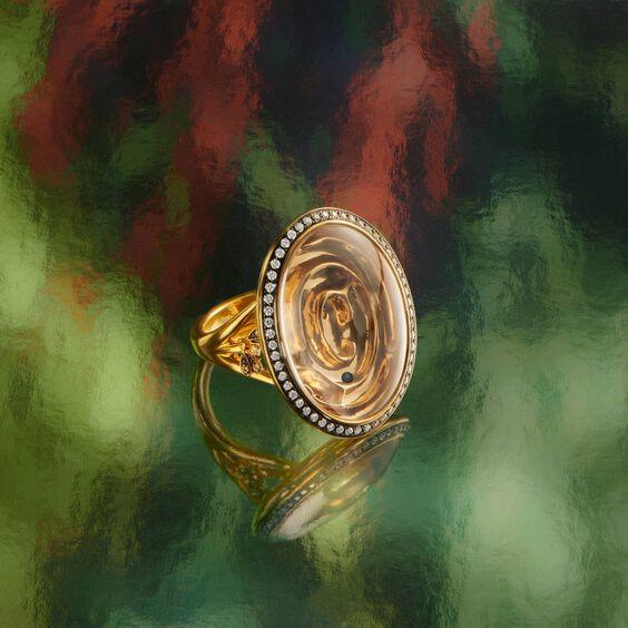 Garden Party 18ct Gold White Quartz Diamond Maze Ring | Annoushka jewelley