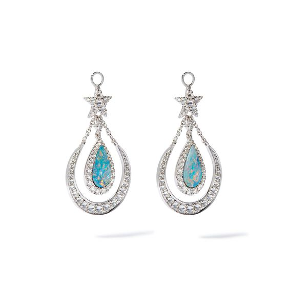Unique 18ct White Gold Opal Doublet Earring Drops | Annoushka jewelley
