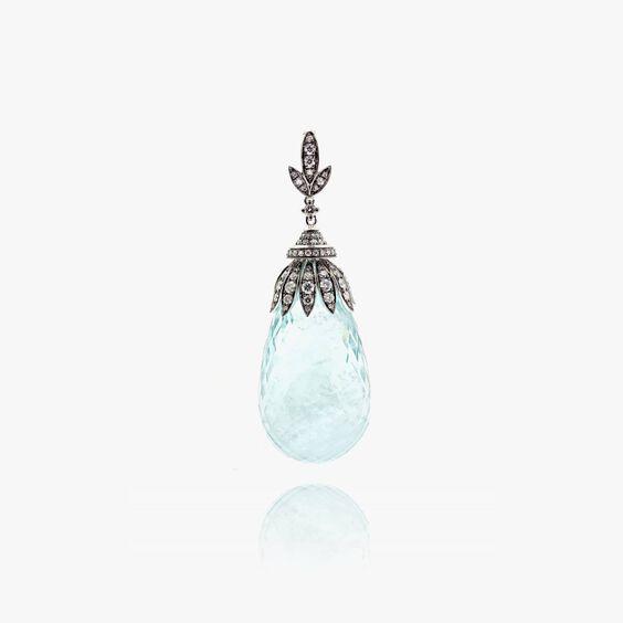 Unique 18ct White Gold Aquamarine Diamond Pendant   Annoushka jewelley