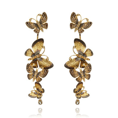 Butterflies 18ct Gold Diamond Drop Earrings
