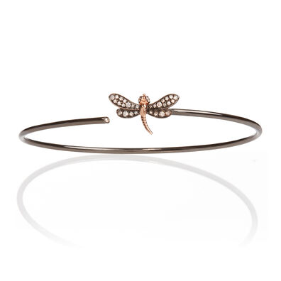 18ct White Gold Diamond Dragonfly Bangle