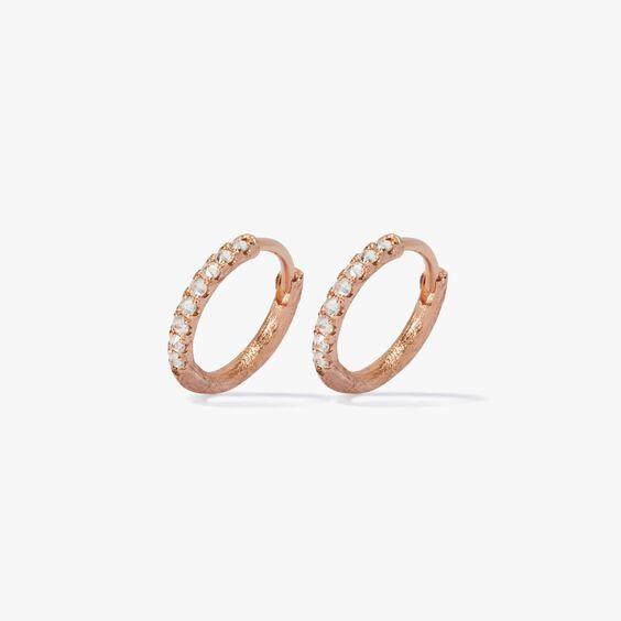 Dusty Diamonds 18ct Rose Gold Diamond 12mm Hoops