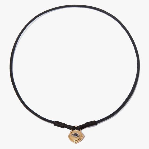 Lovelock 18ct Gold Leather Evil Eye Necklace