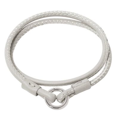 14ct White Gold Lovelink 35cms Cream Leather Bracelet