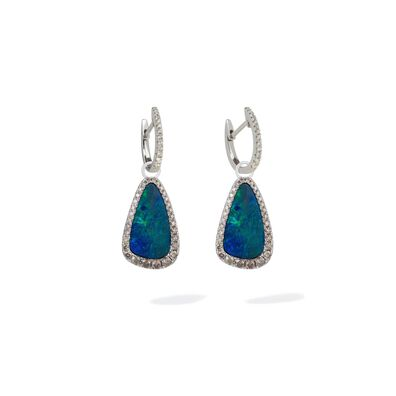 Unique 18ct White Gold Opal Earrings