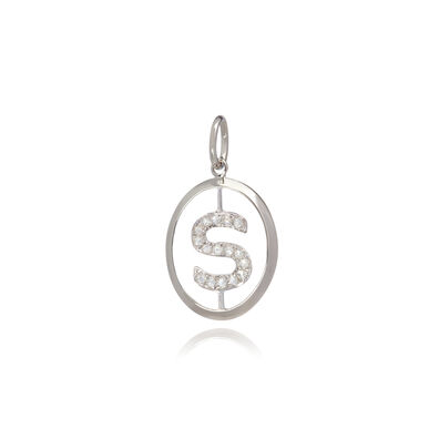 18ct White Gold Initial S Pendant