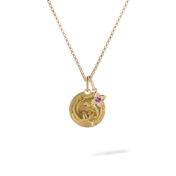 Gold Pisces & Amethyst February Birthstone Necklace | Annoushka jewelley