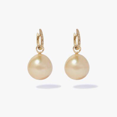 18ct Gold Diamond South Sea Drop Earrings