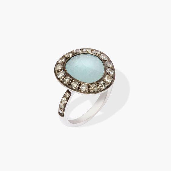 Dusty Diamonds 18ct White Gold Aquamarine Ring | Annoushka jewelley