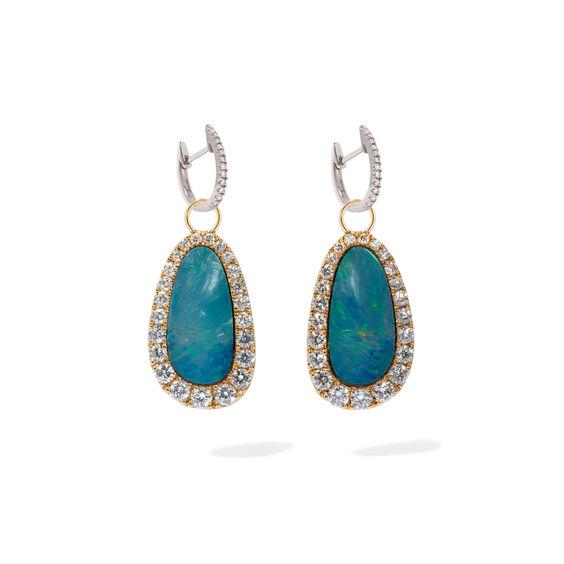 Unique 18ct White Gold Opal Diamond Earrings