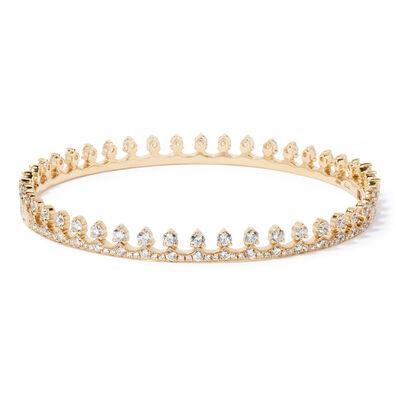 Crown 18ct Gold Diamond Bangle