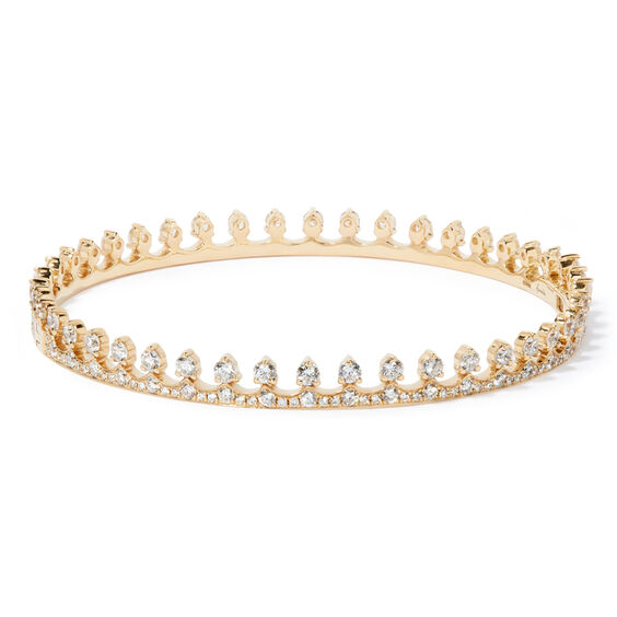Crown 18ct Gold Diamond Bangle | Annoushka jewelley