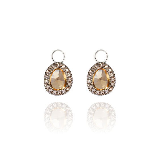 Dusty Diamonds 18ct White Gold Citrine Mini Earring Drops | Annoushka jewelley