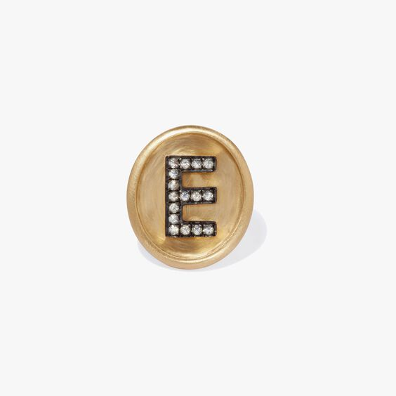 18ct Gold Diamond Initial E Face | Annoushka jewelley