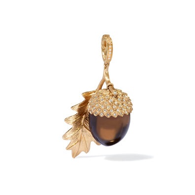 Mythology 18ct Gold Smoky Quartz Acorn Seed Pendant