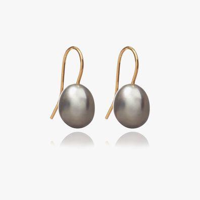 18ct Gold Baroque Grey Pearl Hook Drop Earrings