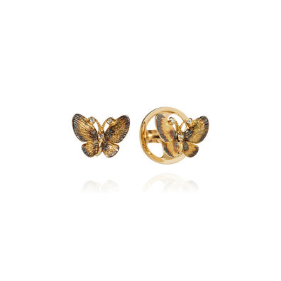 Butterflies 18ct Gold Diamond Stud Earrings