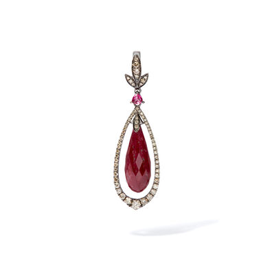 Unique 18ct White Gold Ruby Diamond Pendant