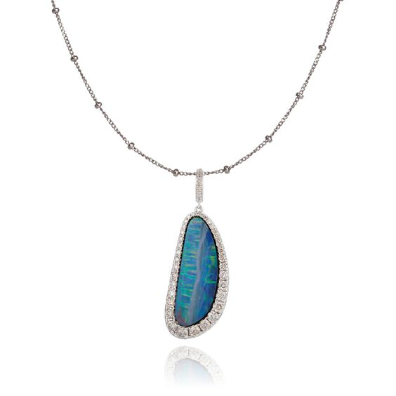 Unique 18ct White Gold Opal Pendant Necklace | Annoushka jewelley