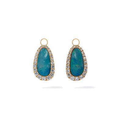 Unique 18ct Yellow Gold Opal Diamond Earring Drops
