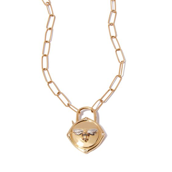 Lovelock 14ct Gold Mini Cable Chain Bee Charm Necklace | Annoushka jewelley