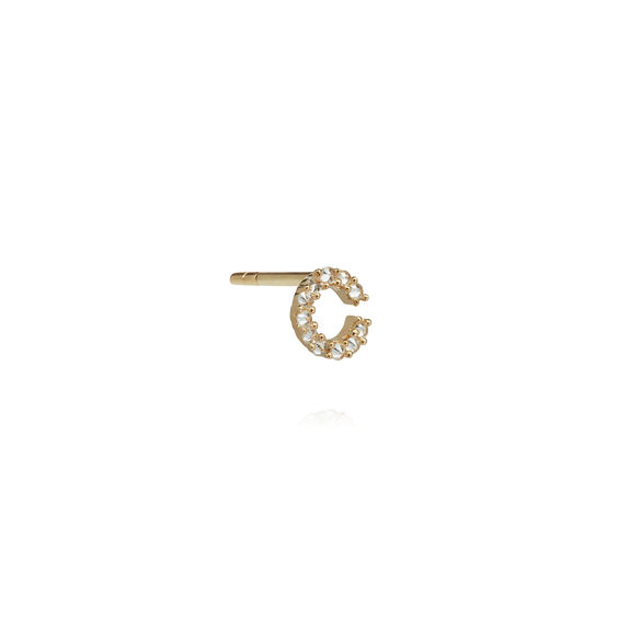 18ct Gold Diamond Initial C Single Stud Earring