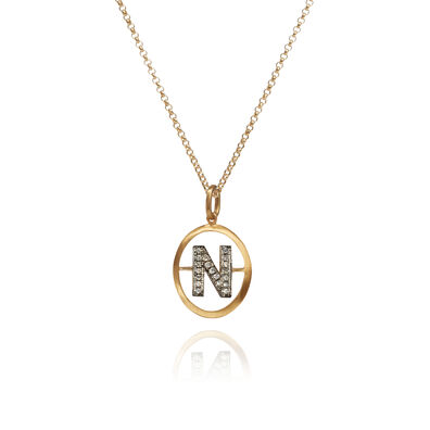 18ct Gold Diamond Initial N Necklace