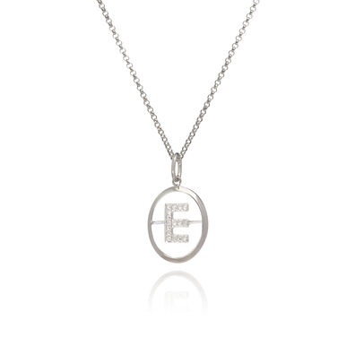 18ct White Gold Diamond Initial E Necklace