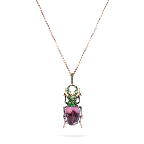 Mythology 18ct Rose Gold Amethyst Beetle Charm | Annoushka jewelley