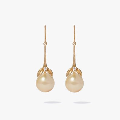 18ct Gold Tulip & South Sea Pearl Earrings