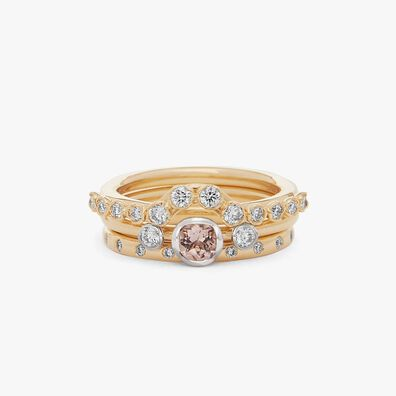18ct Gold Morganite and Diamond Ring Stack